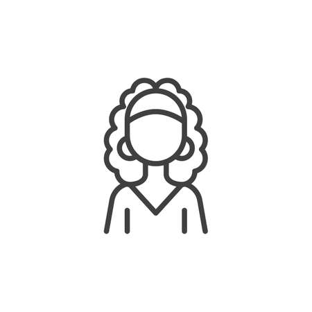 Curly hair woman avatar line icon. linear style sign for mobile concept and web design. Faceless girl portrait outline vector icon. Female person symbol,   illustration. Vector graphics