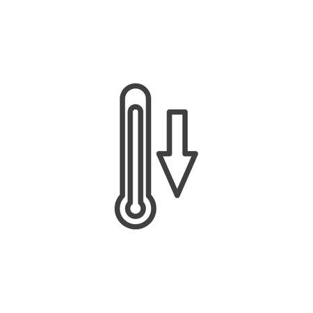Temperature down arrow line icon. linear style sign for mobile concept and web design. Cold thermometer temperature outline vector icon. Climate control symbol,   illustration. Vector graphics Vettoriali