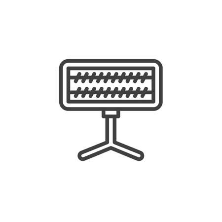 Electric Heater on stand line icon. linear style sign for mobile concept and web design. Tungsten spiral heater outline vector icon. Symbol,   illustration. Vector graphics Ilustrace