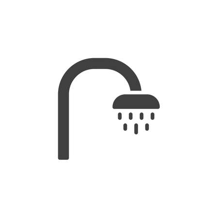 Bathroom shower vector icon. filled flat sign for mobile concept and web design. Shower head with water spray glyph icon. Symbol,   illustration. Vector graphics