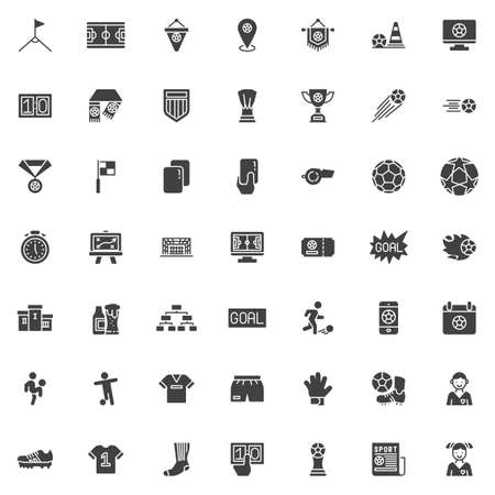Soccer vector icons set, Football sport modern solid symbol collection filled style pictogram pack. Signs,   illustration. Set includes icons as referee card, whistle, corner kick, goal, goalkeeper Foto de archivo - 135446855