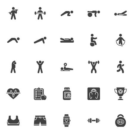 Fitness exercise vector icons set, Sport equipment modern solid symbol collection, filled style pictogram pack. Signs,   illustration. Set includes icons as weight, kettlebell, barbell, dumbbell Reklamní fotografie - 135446851