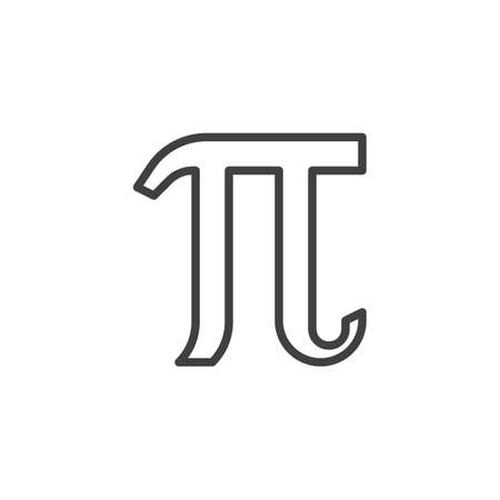 Mathematical value pi line icon. linear style sign for mobile concept and web design. Pi greek letter outline vector icon. Symbol,   illustration. Vector graphics