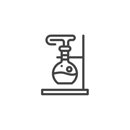 Chemical experiment line icon. Beaker with reaction linear style sign for mobile concept and web design. Tube Research outline vector icon. Chemistry symbol,   illustration. Vector graphics Çizim