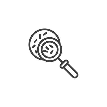 Magnifying glass with germs line icon. linear style sign for mobile concept and web design. Virus research outline vector icon. Biochemistry science symbol,   illustration. Vector graphics Stock Illustratie