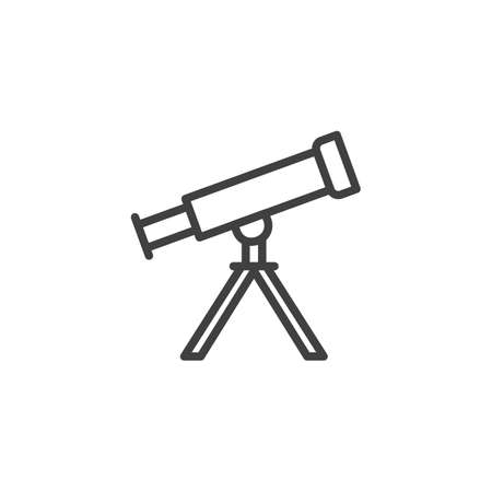 Telescope on tripod line icon. linear style sign for mobile concept and web design. Astro telescope outline vector icon. Symbol,   illustration. Vector graphics Çizim