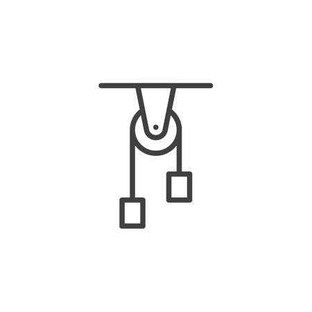 Physics balance line icon. linear style sign for mobile concept and web design. Physics experiment outline vector icon. Symbol,   illustration. Vector graphics Çizim