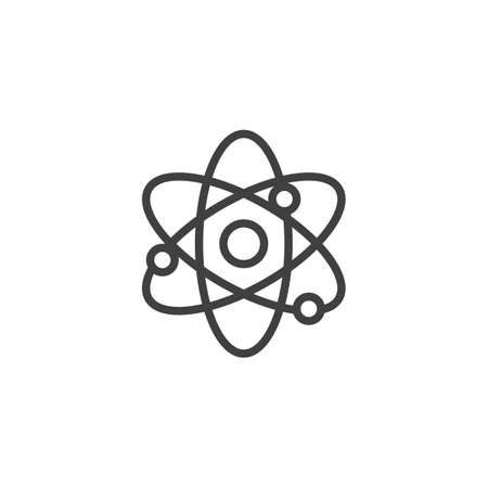 Scientific atom line icon. linear style sign for mobile concept and web design. Molecule atom outline vector icon. Symbol,   illustration. Vector graphics