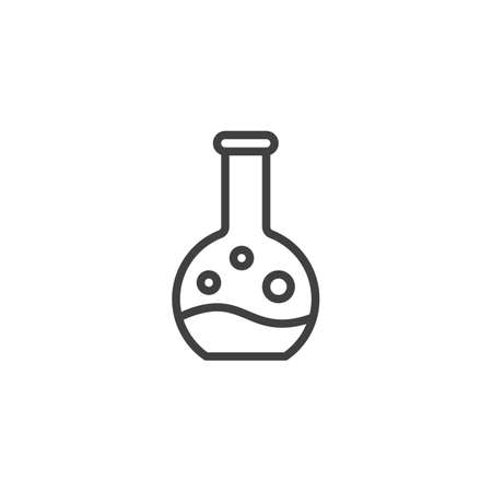Experiment flask line icon. linear style sign for mobile concept and web design. Chemical test tube outline vector icon. Laboratory Research symbol,   illustration. Vector graphics