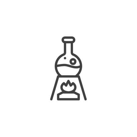 Chemical experiment line icon. linear style sign for mobile concept and web design. Test tube flask on fire outline vector icon. Scientific research symbol,   illustration. Vector graphics