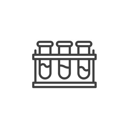 Laboratory flasks line icon. linear style sign for mobile concept and web design. Medical test tubes outline vector icon. Symbol,   illustration. Vector graphics