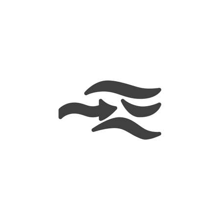 Wind blow vector icon. filled flat sign for mobile concept and web design. Wind, weather glyph icon. Symbol,   illustration. Vector graphics