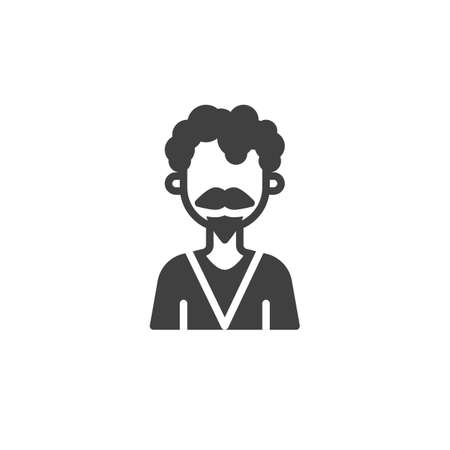 Curly hair man with mustache avatar vector icon. filled flat sign for mobile concept and web design. Faceless man portrait glyph icon. Symbol,   illustration. Vector graphics
