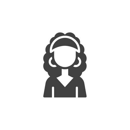 Curly hair woman avatar vector icon. filled flat sign for mobile concept and web design. Faceless girl portrait glyph icon. Female person symbol,   illustration. Vector graphics Ilustracja