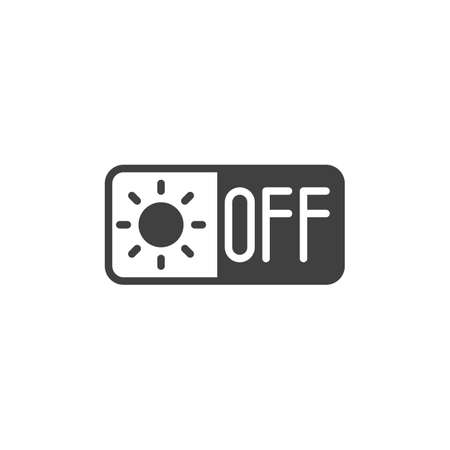 Air heating off switch button vector icon. filled flat sign for mobile concept and web design. Heat system off control glyph icon. Symbol,   illustration. Vector graphics