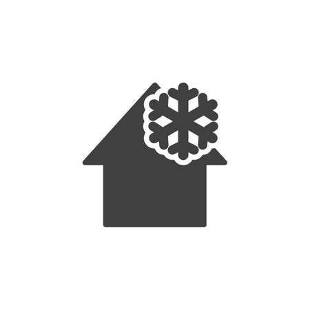 House cooling temperature vector icon. Home and snowflake filled flat sign for mobile concept and web design. Smart home climate control glyph icon. Symbol,   illustration. Vector graphics Illusztráció