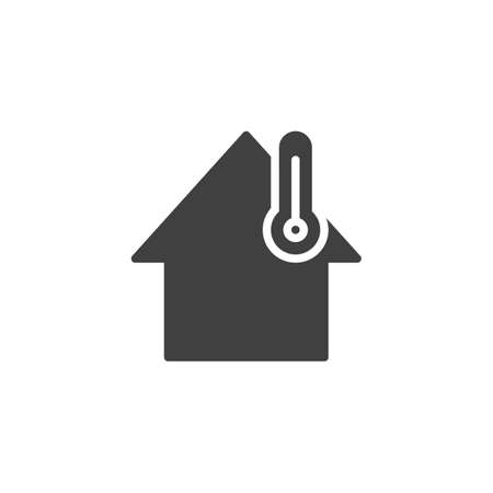 Smart home temperature control vector icon. filled flat sign for mobile concept and web design. House and thermometer glyph icon. Symbol,   illustration. Vector graphics Vettoriali