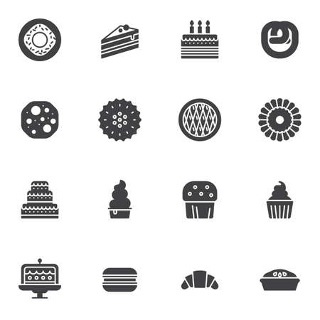 Pastry shop vector icons set, modern solid symbol collection, Bakery Sweets filled style pictogram pack. Signs,   illustration. Set includes icons as piece of cake, croissants, muffin, cupcake, pie
