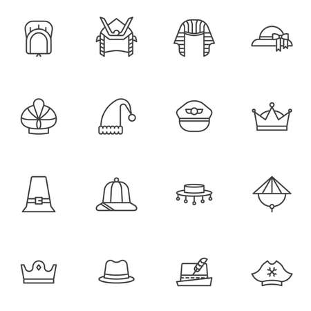 Carnival party headgear line icons set. Headdress linear style symbols collection outline signs pack. vector graphics. Set includes icons as woman hat, king crown, pharaoh, pirate, pilot cap, cowboy Banque d'images - 135448348