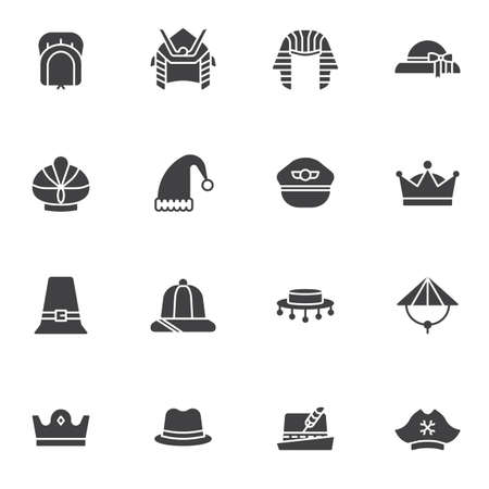 Carnival party headgear icon, set, collection, pack, line, stroke, outline, linear, vector, elements,    pictogram flat symbol sign web illustration pixel perfect simple editable graphics