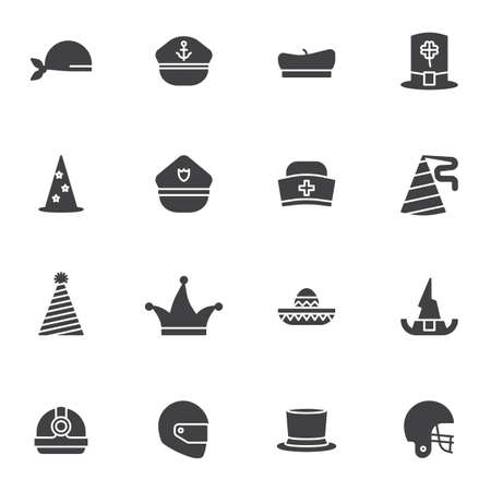 Party headdress vector icons set, modern solid symbol collection, filled style pictogram pack. Signs   illustration. Set includes icons as mexican hat, football helmet, worker hardhat, artist beret Illusztráció