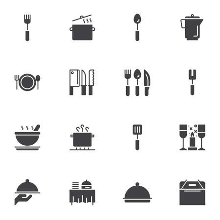 Restaurant kitchen vector icons set, modern solid symbol collection, filled style pictogram pack. Signs,   illustration. Set includes icons as boiler pot, cooking pan, spoon, knife, butcher, fork Illusztráció