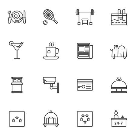 Hotel service line icons set. linear style symbols collection, outline signs pack. vector graphics. Set includes icons as swimming pool, bar drinks, restaurant food tray, reception bell, baggage cart