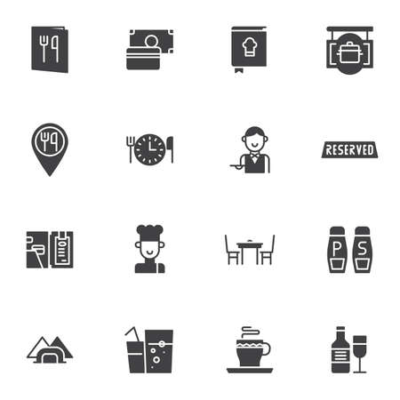 Restaurant service vector icons set, modern solid symbol collection, filled style pictogram pack. Signs,   illustration. Set includes icons as menu booklet, waiter, reserve, chief food, beverages