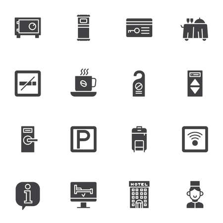 Hotel service vector icons set, modern solid symbol collection, filled style pictogram pack. Signs,   illustration. Set includes icons as car parking, wireless key, safe box, information support