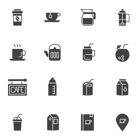 Drinks menu vector icons set, modern solid symbol collection filled style pictogram pack. Signs   illustration. Set includes icons as take away coffee cup, paper milk pack, menu book, juice package