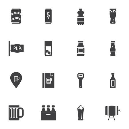 Pub drinks vector icons set, modern solid symbol collection, filled style pictogram pack. Signs,   illustration. Set includes icons as take away coffee cup, paper milk pack, menu book, juice package Illusztráció