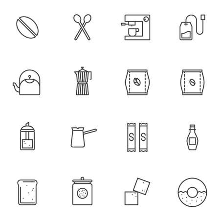 Coffee shop line icons set. linear style symbols collection, outline signs pack. vector graphics. Set includes icons as coffee maker machine, roasted beans pack, french press, sugar dispenser, cezve Foto de archivo - 135448398