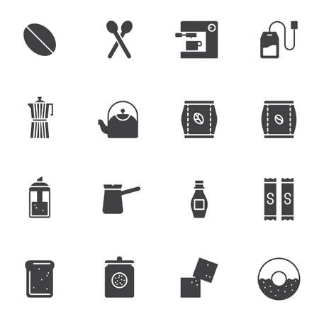 Coffee shop vector icons set, modern solid symbol collection, filled style pictogram pack. Signs   illustration. Set includes icons as coffee maker machine, roasted bean, french press, sugar, cezve