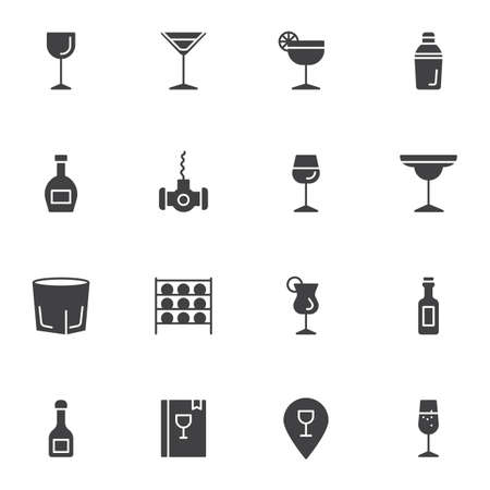 Drinking glass vector icons set, modern solid symbol collection, filled style pictogram pack. Signs,   illustration. Set includes icons as wineglass, martini glass, bar bottles, cocktail drink Illusztráció