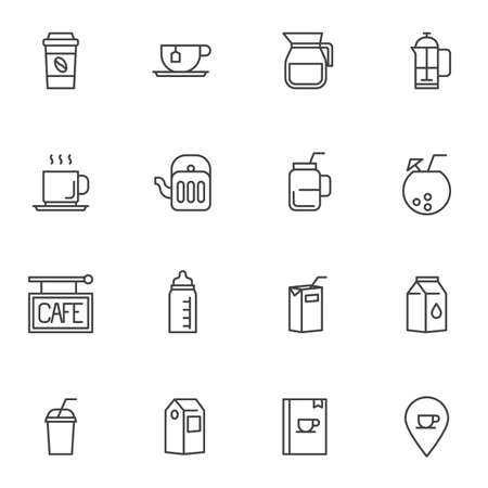 Drinks menu line icons set. linear style symbols collection, outline signs pack. vector graphics. Set includes icons as take away coffee cup, paper milk pack, menu book, juice package, milkshake, cup Foto de archivo - 135448405