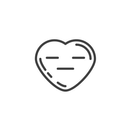 Expressionless heart face emoji line icon. linear style sign for mobile concept and web design. Neutral heart shape emoticon outline vector icon. Love symbol, logo illustration. Vector graphics Illustration