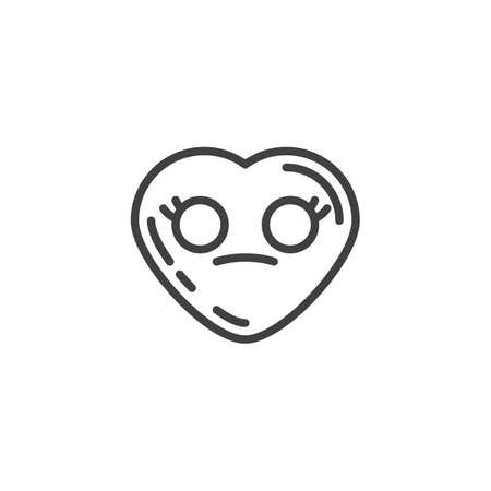 Flushed heart face emoji line icon. linear style sign for mobile concept and web design. Neutral heart shape emoticon outline vector icon. Love symbol, logo illustration. Vector graphics Иллюстрация