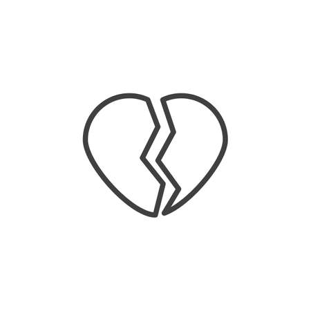 Broken heart line icon. Heartbreak linear style sign for mobile concept and web design. Cracked heart outline vector icon. Love symbol, logo illustration. Vector graphics