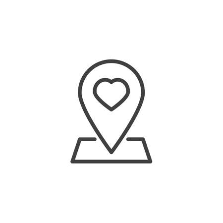 Map pointer with heart line icon. Heart map pin linear style sign for mobile concept and web design. Rendezvous meeting placeholder outline vector icon. Symbol, logo illustration. Vector graphics Illustration