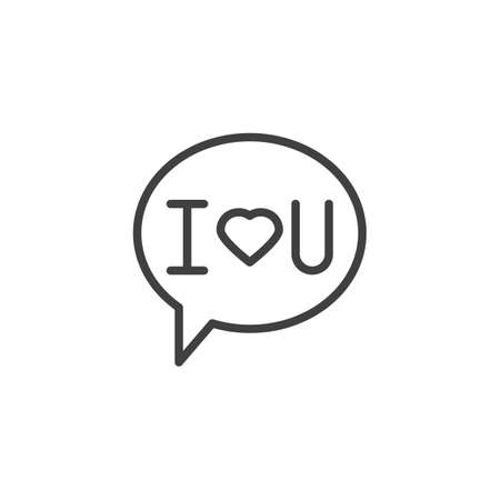 Speech bubble with i love you line icon. linear style sign for mobile concept and web design. I love you message outline vector icon. Symbol, logo illustration. Vector graphics