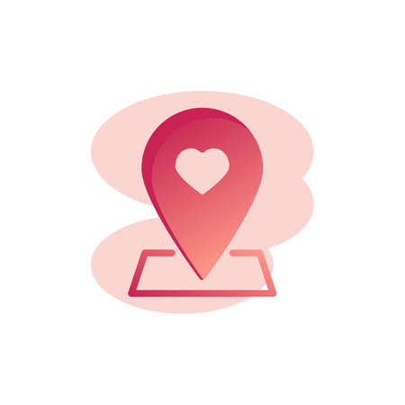 Rendezvous meeting placeholder flat icon, vector sign, Map pointer with heart colorful pictogram isolated on white. Symbol. Flat style design Illustration