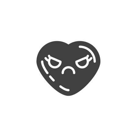 Pouting heart face emoji vector icon. filled flat sign for mobile concept and web design. Frowning mouth, heart shape emoticon glyph icon. Love symbol, logo illustration. Vector graphics Иллюстрация