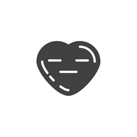 Expressionless heart face emoji vector icon. filled flat sign for mobile concept and web design. Neutral heart shape emoticon glyph icon. Love symbol, logo illustration. Vector graphics Illustration