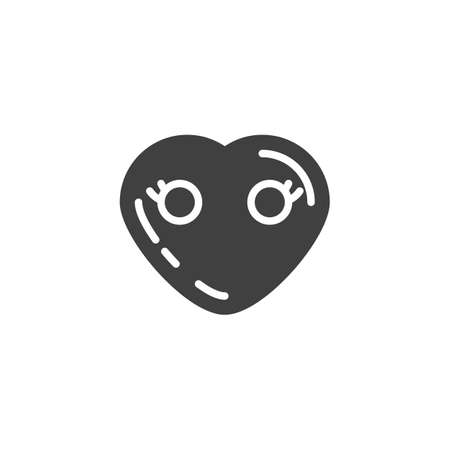 Heart Face Without Mouth emoji vector icon. filled flat sign for mobile concept and web design. Mouthless heart shape emoticon glyph icon. Love symbol, logo illustration. Vector graphics
