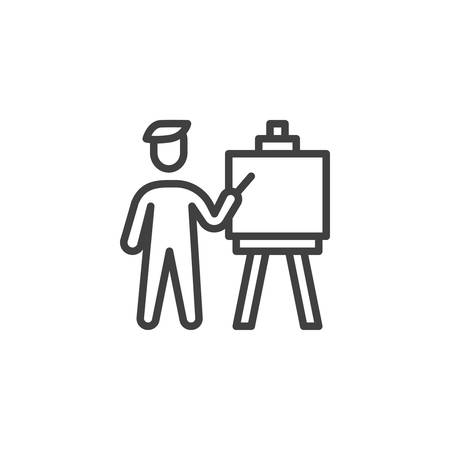 Art painter artist with paint brush and canvas line icon. linear style sign for mobile concept and web design. Artist painting on canvas outline vector icon. Symbol, logo illustration. Vector graphics
