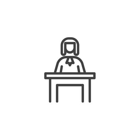 Judge sitting at the table line icon. linear style sign for mobile concept and web design. Judge man court worker outline vector icon. Justice and law symbol, logo illustration. Vector graphics