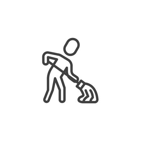 Cleaner maid worker line icon. linear style sign for mobile concept and web design. Sweeper, cleaning with mop outline vector icon. Symbol, logo illustration. Vector graphics Stock Illustratie