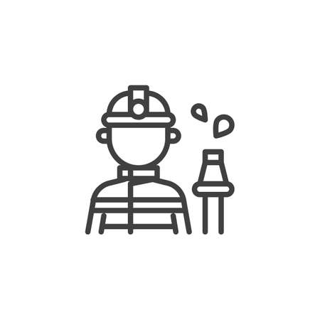 Fireman with a fire hose line icon. linear style sign for mobile concept and web design. Firefighter worker profession avatar outline vector icon. Symbol, logo illustration.