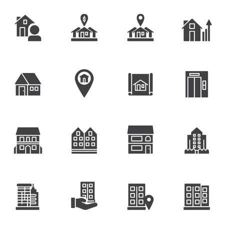 Immobilienvektorsymbole eingestellt, moderne solide Symbolsammlung, gefülltes Piktogrammpaket. Zeichen, Logoillustration. Das Set enthält Symbole wie Immobilienmakler, Miethaus, Hauskarten-Pin, Bürogebäude