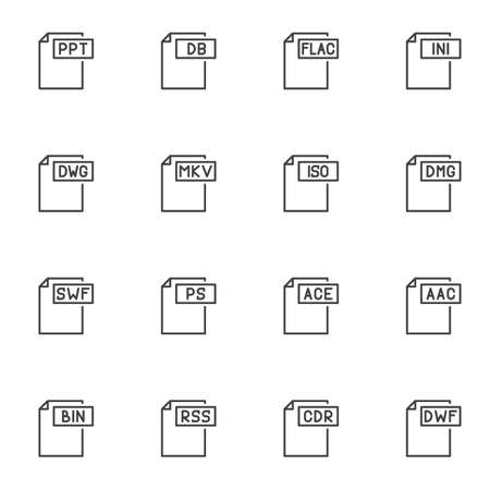 Document File Format line icons set. File types linear style symbols collection, outline signs pack. vector graphics. Set includes icons as flac, iso, dmg, ppt, ini, swf, ace, cdr, dwf, bin, mkv, rss